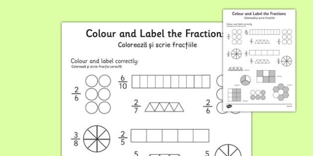 Colour and Label Fractions Worksheet Romanian Translation - romanian, fractions, fractions worksheet, colour and label fractions, colouring fractions worksheet, ks2 numeracy, ks2