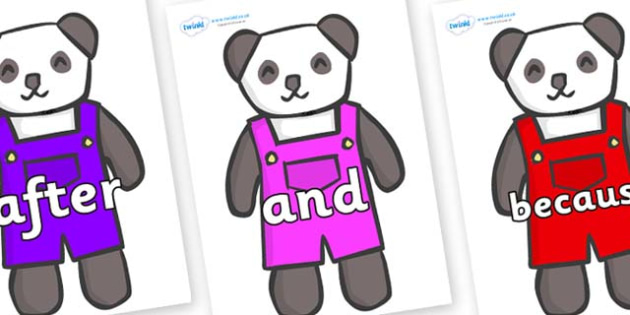 Connectives on Panda Bears - Connectives, VCOP, connective resources, connectives display words, connective displays