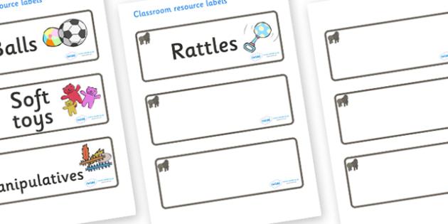 Gorilla Themed Editable Additional Resource Labels - Themed Label template, Resource Label, Name Labels, Editable Labels, Drawer Labels, KS1 Labels, Foundation Labels, Foundation Stage Labels, Teaching Labels, Resource Labels, Tray Labels, Printable