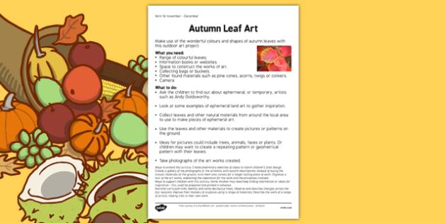 Autumn Leaf Art Worksheet - autumn leaf, art, worksheet, autumn