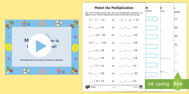 Multiplication Commutativity Task Setter Powerpoint with Worksheets - multiplication, task setter, powerpoint, worksheets, multiplication powerpoint, maths