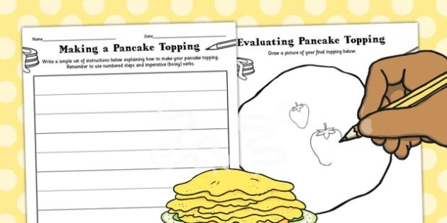 Making and Evaluating a Pancake Topping Activity Sheet - activity, worksheet