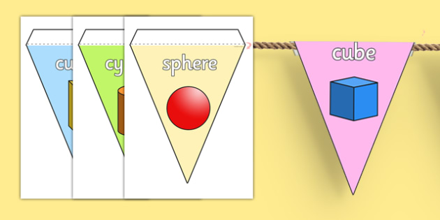 3D Shape Display Bunting - 3d shape, display bunting, display, bunting
