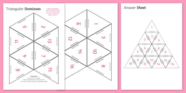Blank Editable Triangular Dominoes - blank, editable, triangle, triangular, dominoes, activity