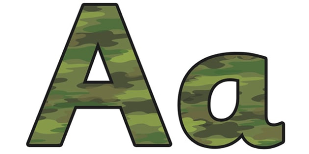 Camouflage Display Lettering (Small) - camouflage display lettering, camouflage lettering, camouflage display letters, small camouflage display lettering
