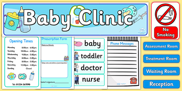Baby Clinic Role Play Pack - Baby Clinic Role Play Pack, baby healthcare, Role Play Pack - role play, Display signs, display, labels, packvaccinations, prescription, nurse, doctor, syringe, thermometer, role play, display, poster