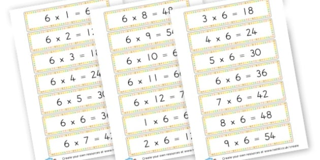 6 Times Table (teach me) Cards - Calculations Times Tables Primary Resources - KS2 Calculations Primary, Times, Tabe, Table