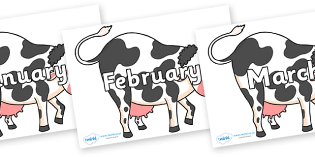 Months of the Year on Bullabaloo Cow to Support Teaching on Farmyard Hullabaloo - Months of the Year, Months poster, Months display, display, poster, frieze, Months, month, January, February, March, April, May, June, July, August, September