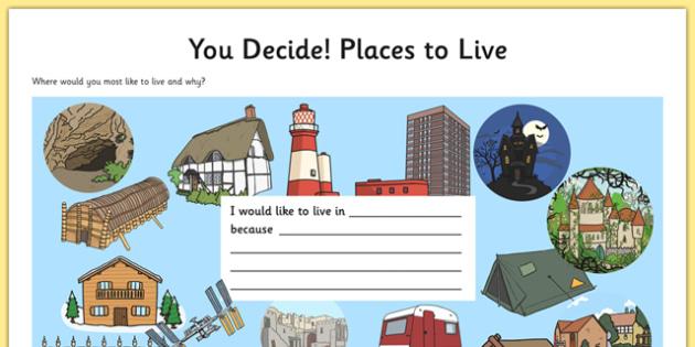 You Decide Places to Live Activity - choice, decision, you choose, explain, justify