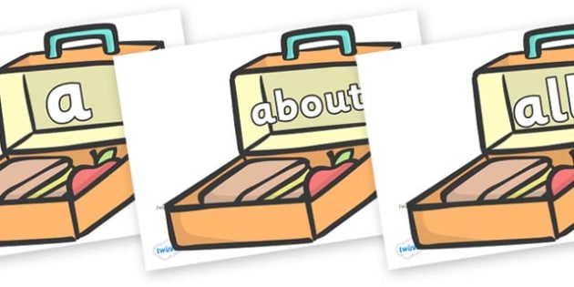 100 High Frequency Words on Lunch Boxes - High frequency words, hfw, DfES Letters and Sounds, Letters and Sounds, display words