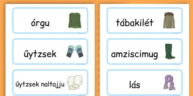 Winter Clothes Word Cards - winter clothes, word cards, winter, clothes - Hungarian