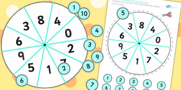 Number Bondsto 10  Peg Activity - activities,, game, games