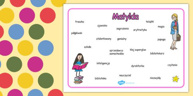 Plansza ze słownictwem Matylda po polsku - lektury