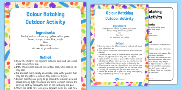 Colour Matching Outdoor Activity - Forest, school, colour, EYFS, matching