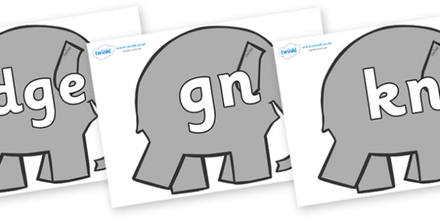 Silent Letters on Grey Elephant to Support Teaching on Elmer - Silent Letters, silent letter, letter blend, consonant, consonants, digraph, trigraph, A-Z letters, literacy, alphabet, letters, alternative sounds