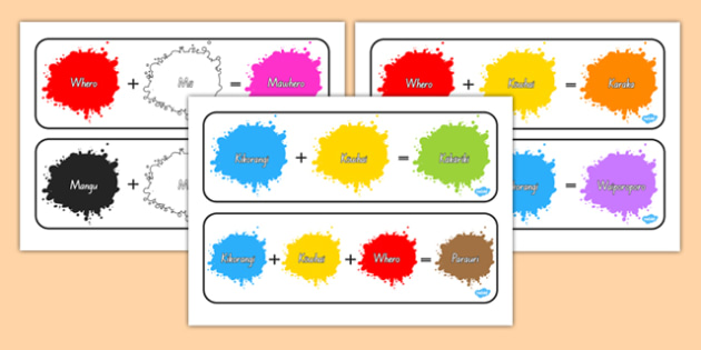 Colour Mixing Pack Māori - colours, rainbow, vocabulary, te reo, nz, new zealand, languages, art, design, creative