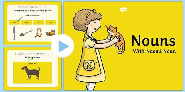 Nouns PowerPoint - nouns, powerpoint, words, grammar gang, vocabulary