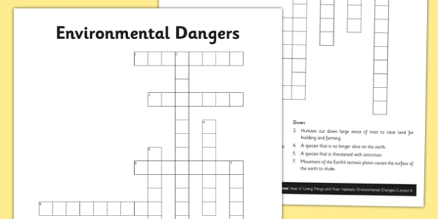 Environmental Dangers Crossword Puzzle - Living things, habitats, conservation, endangered animals, environment