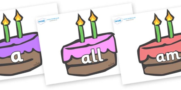 Foundation Stage 2 Keywords on Cakes - FS2, CLL, keywords, Communication language and literacy,  Display, Key words, high frequency words, foundation stage literacy, DfES Letters and Sounds, Letters and Sounds, spelling