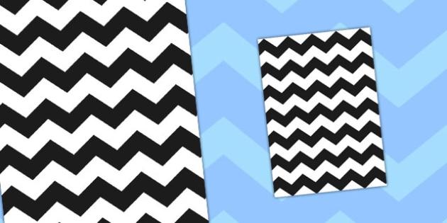 Black Zig Zag Themed A4 Sheet - zig zag, themed, a4, sheet, paper