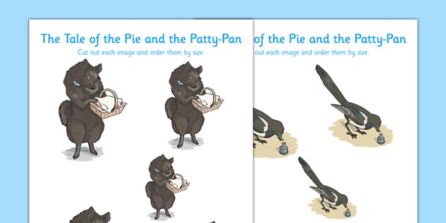 Beatrix Potter - The Tale of the Pie and the Patty Pan Size Ordering - beatrix potter, pie, patty pan, size ordering