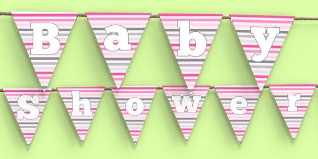 Baby Shower Bunting Pink Themed - baby shower, baby, shower, newborn, pregnancy, new parents, bunting