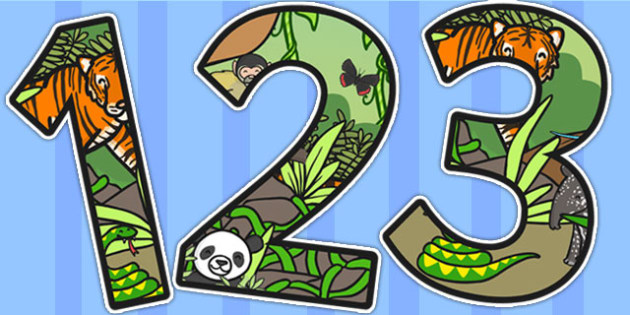 Jungle Themed A4 Display Numbers - jungle, jungle display, number