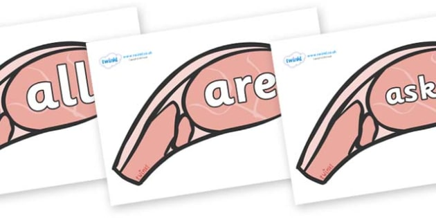 Tricky Words on Bacon - Tricky words, DfES Letters and Sounds, Letters and sounds, display, words
