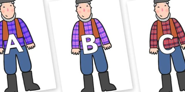 A-Z Alphabet on Farmer - A-Z, A4, display, Alphabet frieze, Display letters, Letter posters, A-Z letters, Alphabet flashcards