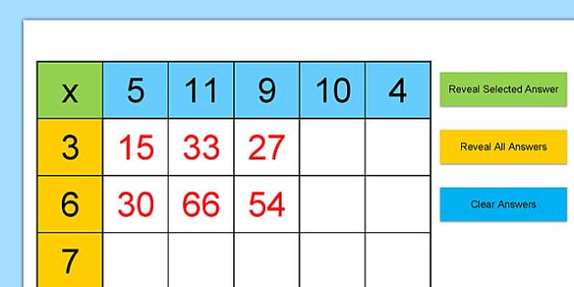 Multiplication Tables Grid Practice Starter Excel - multiplication table, grid, practice, worksheet, spreadsheet, starter
