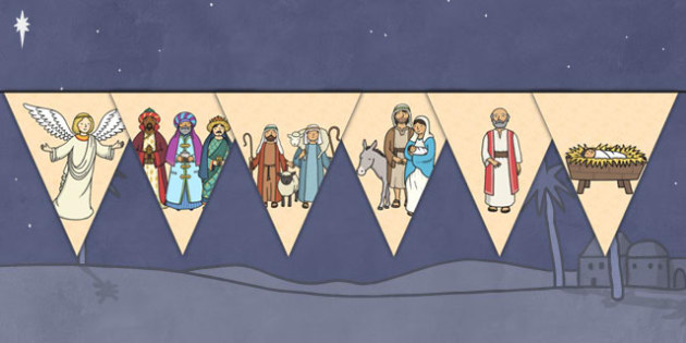 The Nativity Themed Bunting - nativity, themed, bunting, display, display bunting