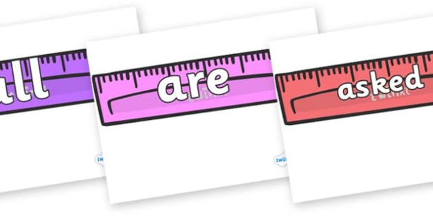 Tricky Words on Rulers - Tricky words, DfES Letters and Sounds, Letters and sounds, display, words