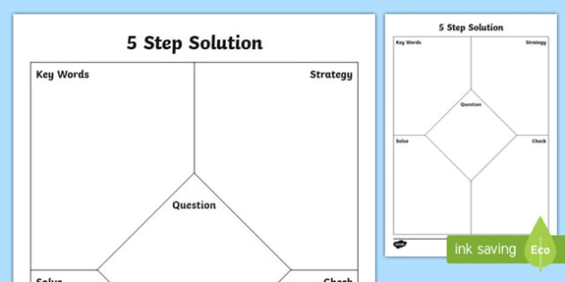 5 Step Solutions Math Graphic Organizer