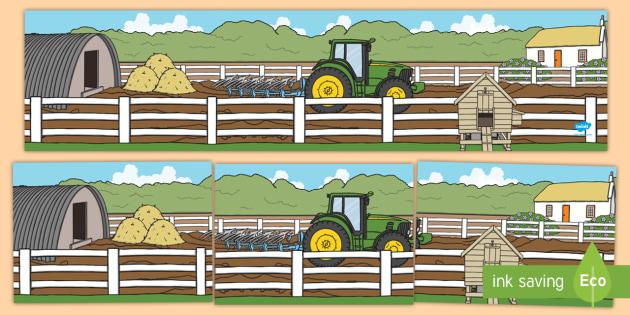 Small World Background (Farmyard) - Small World, backdrop, background, scenery, small world area, small world display, small world resources, farm, pig, cow, chicken, goat, tractor, farmer, chicken, goat
