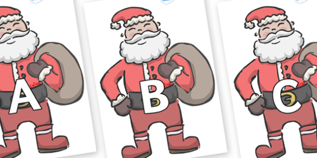 A-Z Alphabet on Santas - A-Z, A4, display, Alphabet frieze, Display letters, Letter posters, A-Z letters, Alphabet flashcards