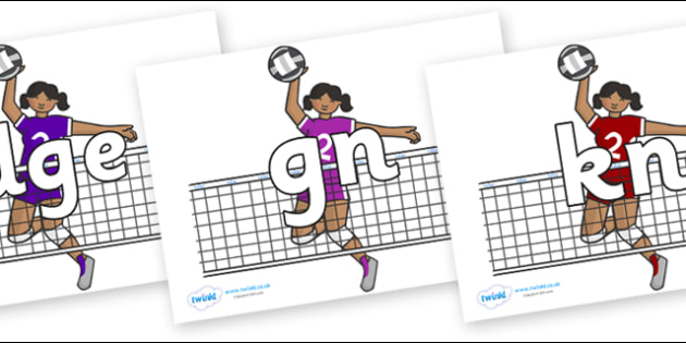 Silent Letters on Volleyball Players - Silent Letters, silent letter, letter blend, consonant, consonants, digraph, trigraph, A-Z letters, literacy, alphabet, letters, alternative sounds