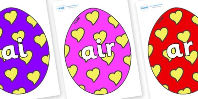 Phase 3 Phonemes on Easter Eggs (Hearts) - Phonemes, phoneme, Phase 3, Phase three, Foundation, Literacy, Letters and Sounds, DfES, display