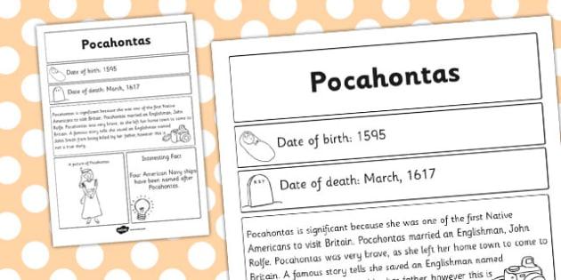 Pocahontas Significant Individual Fact Sheet - fact sheet, facts