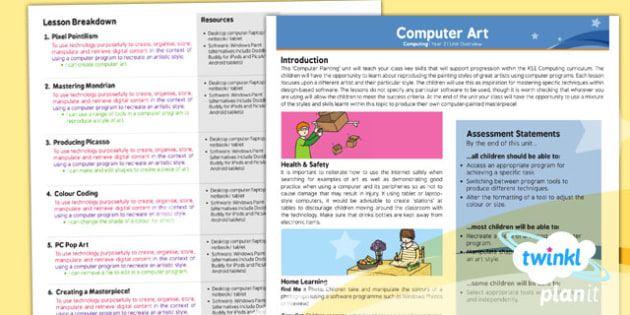 PlanIt - Computing Year 2 - Computer Art Planning Overview - planit, computing, year 2, computer art, planning overview