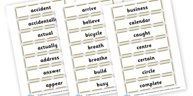 Popular Words Spellings Cards - Spelling Primary Resources, grammar, aids, handwriting, formation