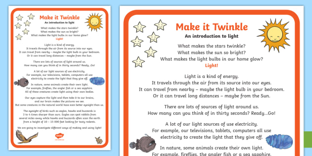 Make It Twinkle! - an Introduction to Light A2 Display Poster - Make it twinkle! STEM Light Energy Forces Experiment KS1 KS2 Science