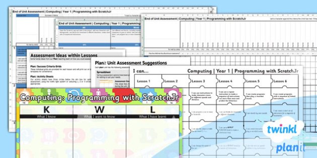 PlanIt - Computing Year 1 - Programming with ScratchJr Unit Assessment Pack - code, coding, programming, algorithms