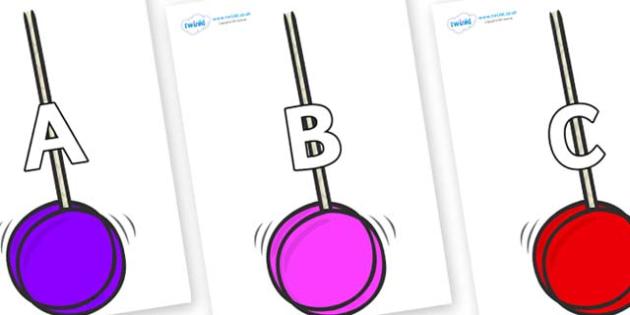 A-Z Alphabet on Yoyos - A-Z, A4, display, Alphabet frieze, Display letters, Letter posters, A-Z letters, Alphabet flashcards