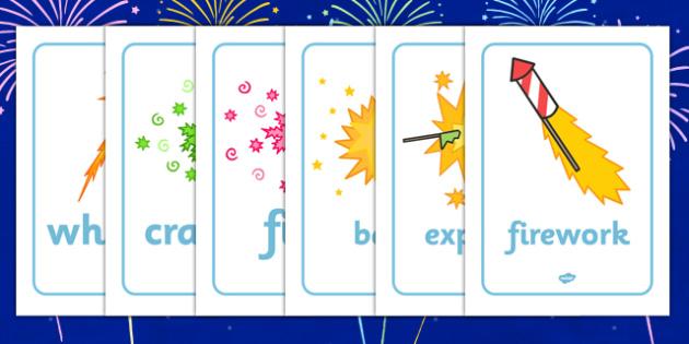 Bonfire / Fireworks Night Display Words - Bonfire, Fireworks Night, Display Words, display, Guy, Autumn, A4, display, firework, bang, crackle, woosh, rocket, sparkler, catherine wheel, screech, whirl, fire, bonfire, leaves, gloves