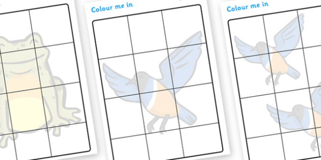 African Hen Story Shadow Colouring Sheets - colour, shadows