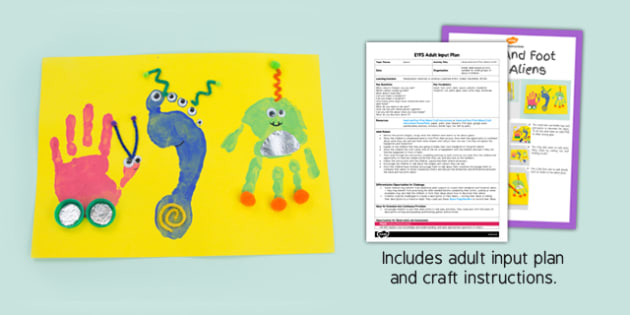 Hand And Foot Print Aliens Craft EYFS Adult Input Plan And Resource Pack