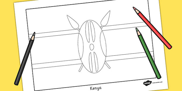 Kenya Flag Colouring Sheet - geography, countries, colour