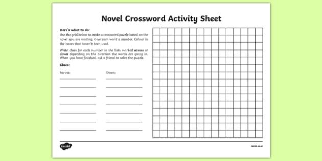 Novel Crossword Activity Sheet-Irish, worksheet