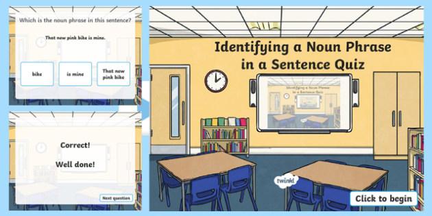 Identifying a Noun Phrase in a Sentence Grammar PowerPoint
