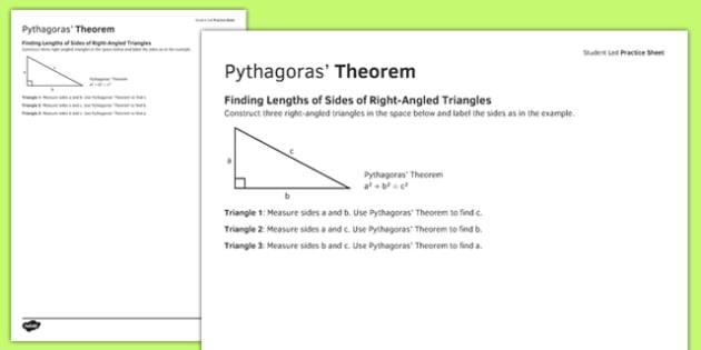 Student Led Practice Sheet Pythagoras' Theorem